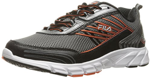 Fila Men's Forward 3 Running Shoe, Dark Silver/Black/Red Orange, 10.5 M US