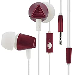 Heavy Bass In-ear Earbud Headphones with Mic Kingyou KF01 Android Cell Phones Samsung HTC Lg G4 G3 Mp3 Mp4 Earphones(Red)