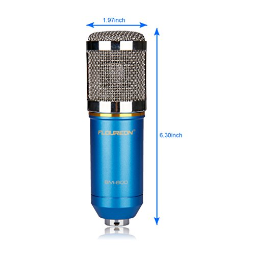 Floureon BM-800 Condenser Sound Studio Recording Broadcasting Microphone + Shock Mount Holder Blue - 3