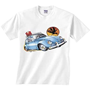 Volkswagen Bug T-Shirt Blue Beetle With Palm Tree VW Car Tee 2