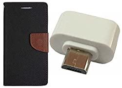 Novo Style Book Style Folio Wallet Case LenovoK4 Note Black + Little Adapter Micro USB OTG to USB 2.0 Adapter for Smartphones & Tablets