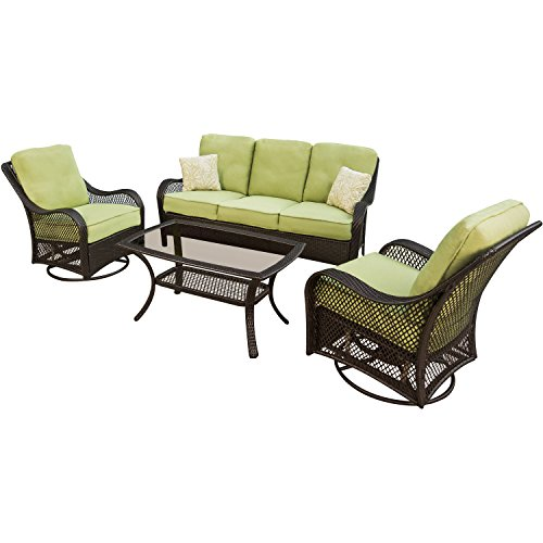 Hanover ORLEANS4PCSW Orleans 4-Piece Outdoor Lounging Set, Includes Sofa, 2 Swivel-Gliders and 43 by 26-Inch Coffee Table image