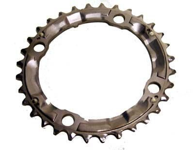 Shimano LX/Deore 9sp chainring, 104BCD x 36t - sil