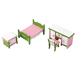 Magideal Dollhouse Miniature Furniture Wooden Toy Kids Bedroom Set