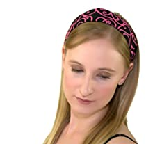 Skinny Headband, Hot Pink Swirls Over Deep Black, Beautiful Headband