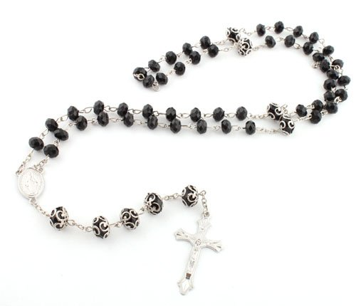 Black with Silver Mother Mary Jesus Rosary Cross Pendant & Ornament Style Beads with a 36 Inch Beaded Chain Necklace