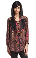 Tracy Reese Lace-Up Blouse in Tree of Life