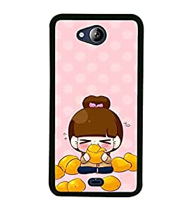 PRINTVISA Cute Cartoon Girl Case Cover for Micromax Canvas Play Q355