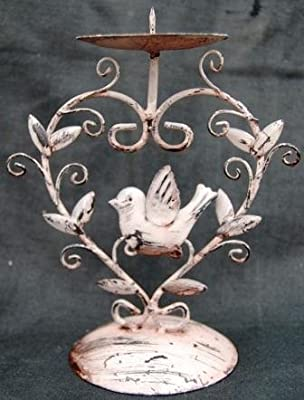 Shabby Chic Heart Shaped Candle Stick with Bird Detail by Simply Add Style