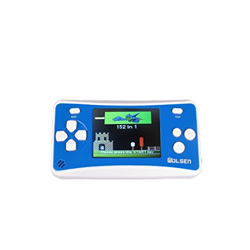 WOLSEN 2.5 LCD Handheld Portable Game Console Speaker (Blue + White) (3 X AAA) 152 in 1 Games