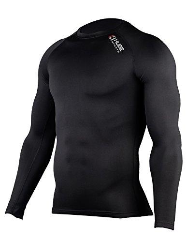 Hugesports Men's Fleece Coldgear Thermal Baselayer Compression Shirt Long Sleeves Black Small