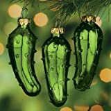 One (1) Hand Blown Green Glass Legend of the Pickle Tradition Ornament for Good Luck Christmas Tree Party Favor or Gift Giving