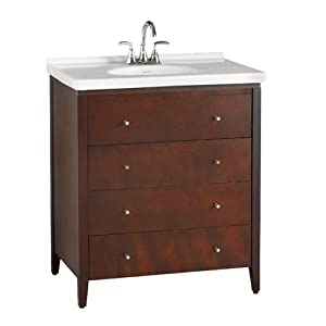 American Standard 9437.200.310 Cascada Three-Drawer Vanity without Lavatory Top, Tobacco