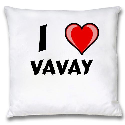 White Cushion Cover with I Love Vavay (first name/surname/nickname) first love
