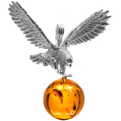 Sterling Silver Cognac Amber Eagle Pendant Gemstone Diameter 18mm