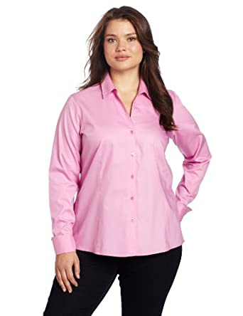Jones New York Women's Plus-Size Long Sleeve No-Iron Easy Care Blouse, New Pink, 14W