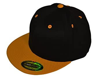 Original Flexfit Flatbill 210 Hat (Small/Medium, Black / Gold)