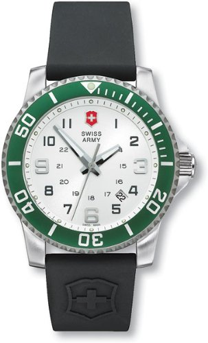 Victorinox Swiss Army Classic Maverick II Mens Silver Dial Black Rubber Strap Stainless Steel-Aluminum Watch 241052