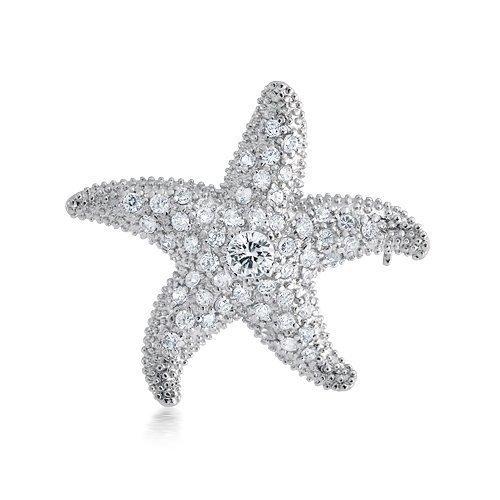 Bling Jewelry CZ Nautical Starfish Brooch Pendant