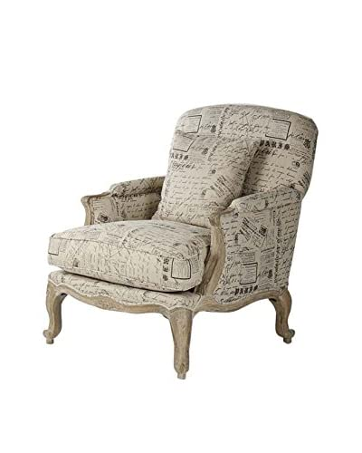 Zentique Paris Club Chair, Natural/Limed Grey