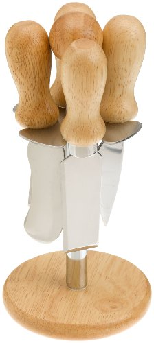 Prodyne MW-5 Set of 4 Cheese Knives with Stand, Metal and Wood