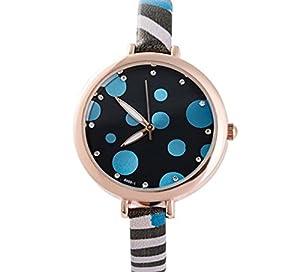 Women's Style Small Dots Fase PU Band Quartz Wrist Watch-Purple