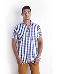 Sting Blue Checks Slim Fit Casual Shirt - B00NR1M3OK