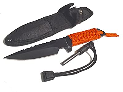 DAX Industries Fixed Blade Survival Knife With Magnesium Fire Starter, 4 Inch Full Tang Blade, Stainless Steel, Nylon Sheath and Orange Cord Included, Perfect for Any Outdoor Use.