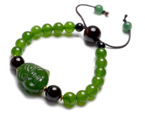 Live in Joy Cute Happy Buddha Green Jade Amulet Bracelet, Decorative Black Agate Beads and Copper, 6-10 Inches Stretchable – Fortune Jade Jewelry