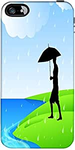 Snoogg Abstract Rainy Season Background With Silhouette Of A Man Holding Umbr...