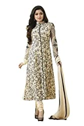 Regalia Ethnic New Collection Cream Embroidered Georgette Semistitched Dress Material With Matching Dupatta
