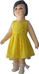 Bisbasta Baby Girl Round Neck Yello Cotton Frock (6 to 12 Months)