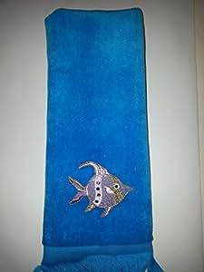 Amazon.com: Tropical angel Fish Towel aqua vintage fingertip sparkly
