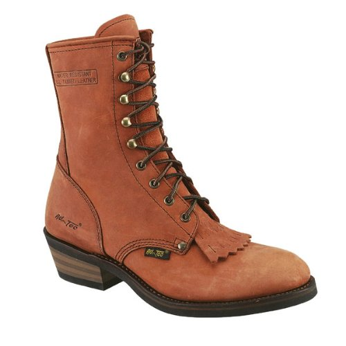 Ad Tec Mens 9in Western Packer Crazy Horse Tan Work Boots -
