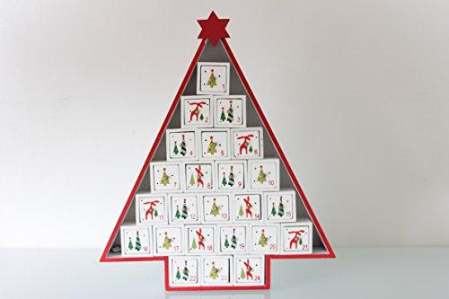 Adventskalender als Holztannenbaum 38cm zum Selbstbefüllen weiß thumbnail