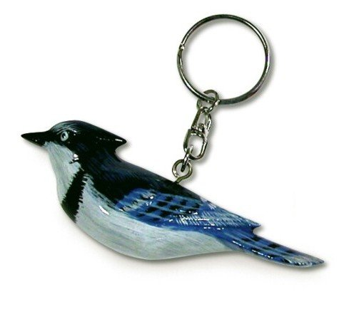 Hand Painted Blue Jay Bird Key Chain