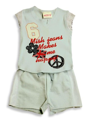 Mish Mish - Baby Baby Girls 2-Piece Short Set, Lt. Blue/Red/ White 3419-24Months
