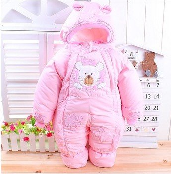 The Best Quality Girl Boy Newborn Baby Winter Wadded Jacket Cotton-Padded Jacket Infant Year Old Autumn And Winter Child Romper (10-12Months, Pink)