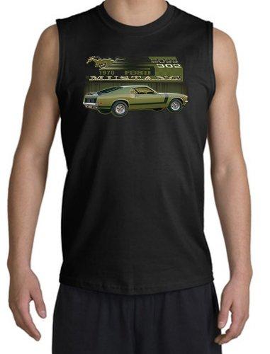 Ford Car 1970 Mustang Boss 302 Classic Adult Muscle Shirt Shooter - Black, Xl