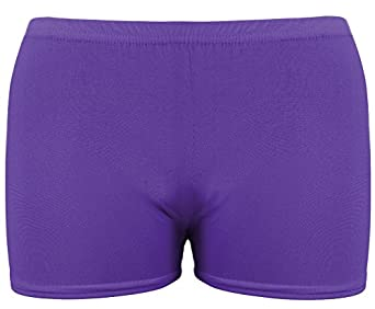 NEW WOMENS/LADIES NEON COLOURED PARTY CLUB WEAR SHORTS HOT PANTS (S/M, NEON PURPLE)