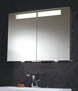 Aluminium Mirror Double Bathroom Cabinet With LED Down Lights Shaver So