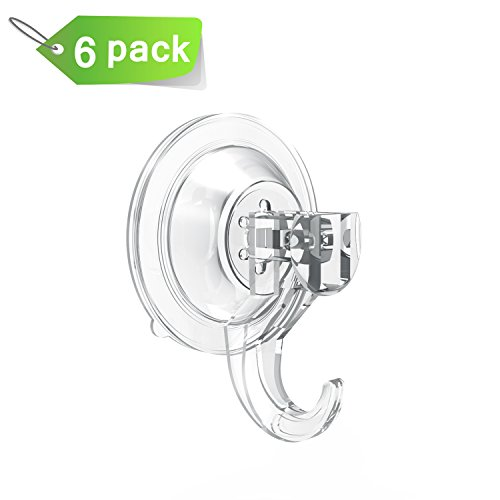 Budget&Good 6 pcs Ultra Heavy Duty Strong Vacuum Suction Cup Hook, Clear Plastic Removable Power Lock Suction Hook, Smooth Wall Shower Kitchen Window Bathroom Bag Coats Towels Caps hook