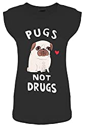 Womens Ladies Pugs Not Drugs Heart Print Short Turn Up Cap Sleeve T Shirt Tops by BE JEALOUS