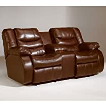 "Hot Sale ""Famous Collection"" -Bomber Double Reclining Loveseat w/ Console Power"