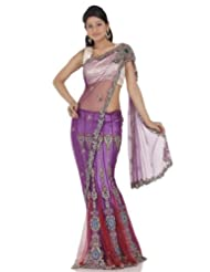 Chhabra555 Purple Net One Minute Saree - B00J4RPJLU