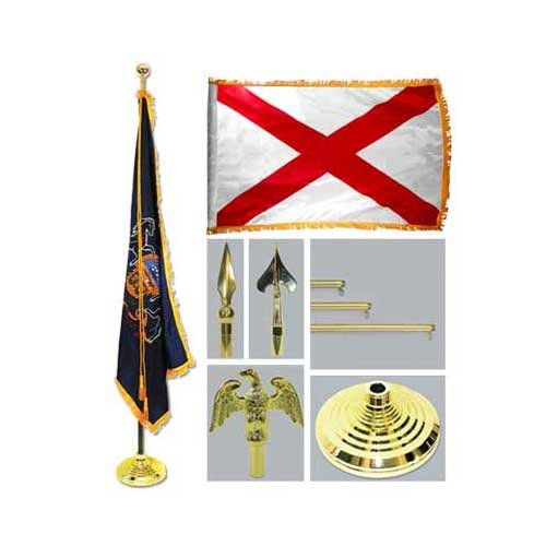 Alabama 4Ft X 6Ft Flag Telescoping Flagpole Base And Tassel