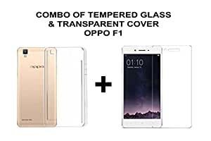 Hello Zone Exclusive Combo Of Tempered Glass And Transparent Crystal Clear Back Cover Back Case Cover For OPPO F1 Selfie SmartPhone Expert