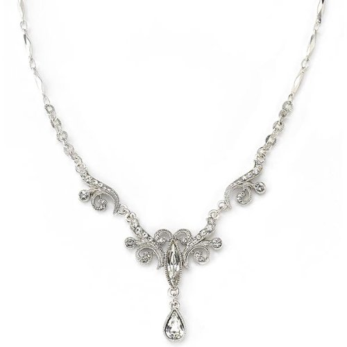 Bridal Crystal Fancy Drop Necklace