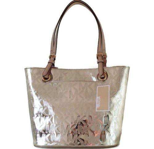 Michael Kors Jet Set Gold Mirror Metallic Medium Tote Shoulder Bag Handbag Purse