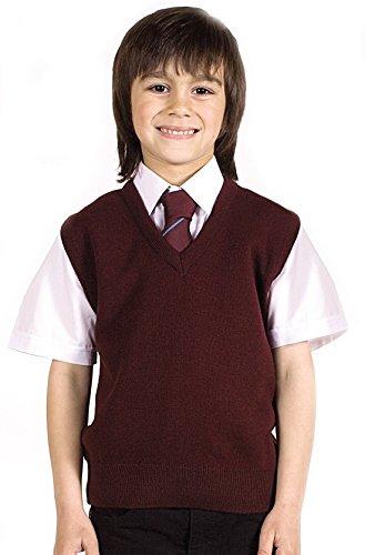 Jungen Pullunder Schulbekleidung Uniform Ärmellos V-Ausschnitt Wollpullover - 122 - 128, Rot